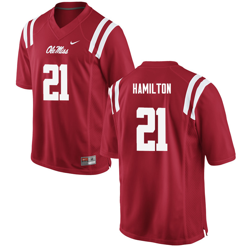 Men Ole Miss Rebels #21 Javien Hamilton College Football Jerseys-Red