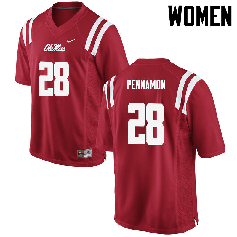 Women Ole Miss Rebels #28 DVaughn Pennamon College Football Jerseys-Red