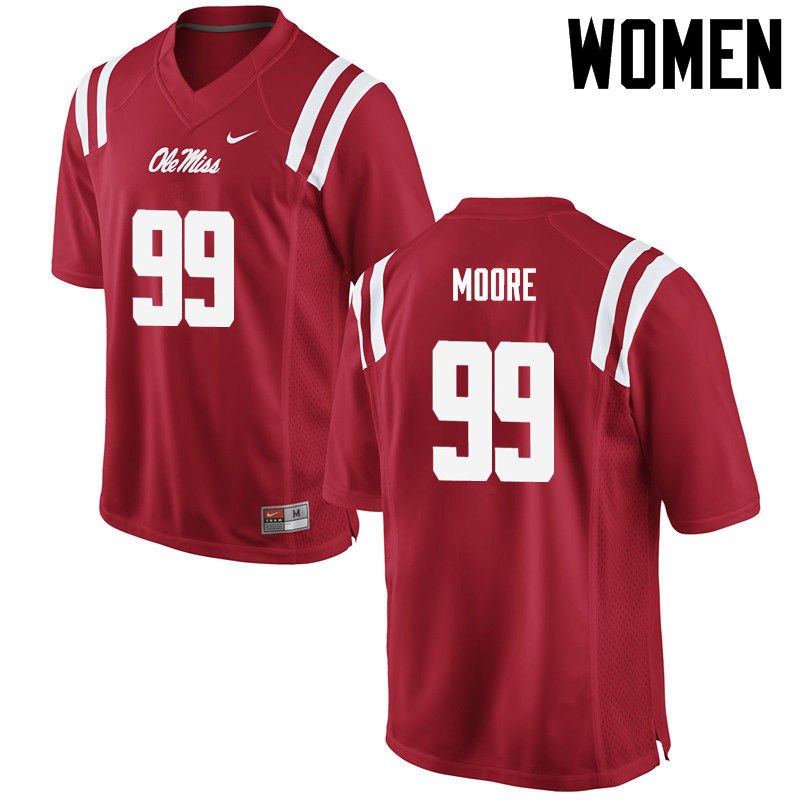 Women Ole Miss Rebels #99 Herbert Moore College Football Jerseys-Red