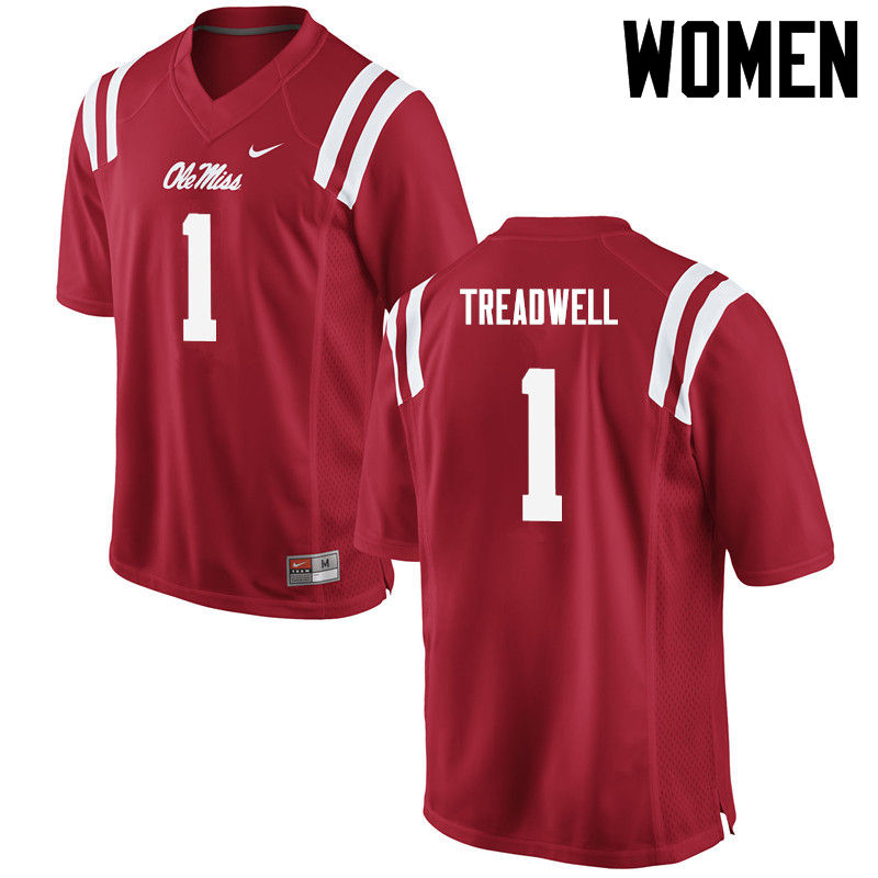 Women Ole Miss Rebels #1 Laquon Treadwell College Football Jerseys-Red
