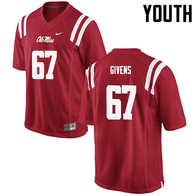 Youth Ole Miss Rebels #67 Alex Givens College Football Jerseys-Red