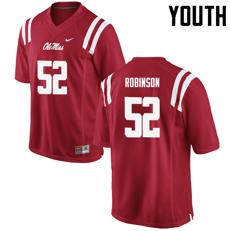 Youth Ole Miss Rebels #52 Austrian Robinson College Football Jerseys-Red
