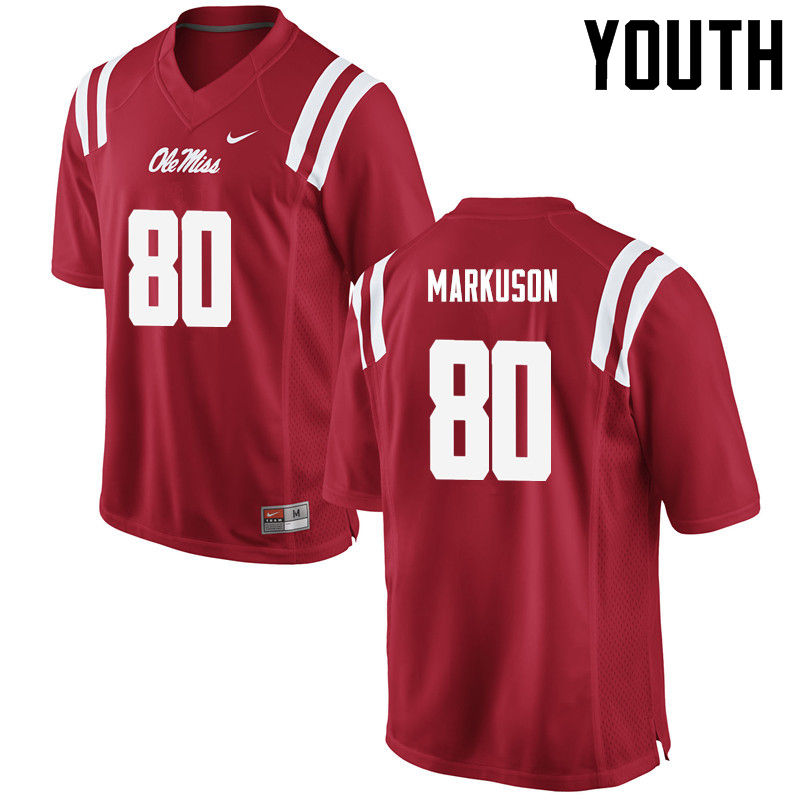 Youth Ole Miss Rebels #80 Elliot Markuson College Football Jerseys-Red