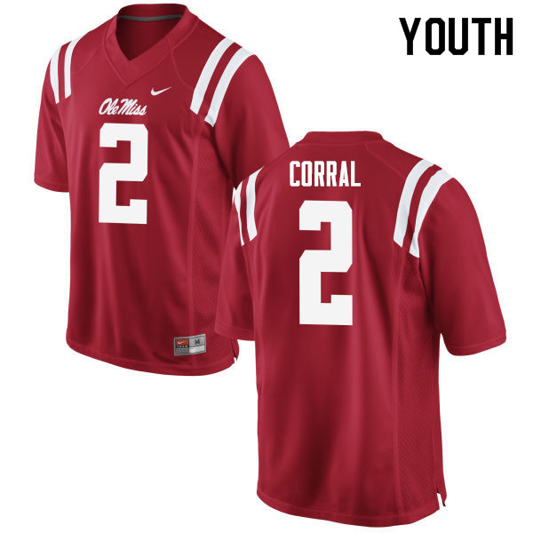 Youth #2 Matt Corral Ole Miss Rebels College Football Jerseys Sale-Red